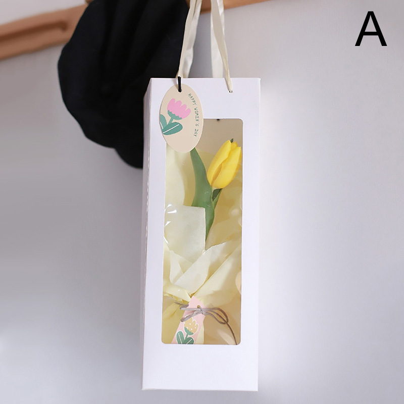 Tote Transparent Window Gift Bag Flower Packing Tote Bouquet Paper Bags