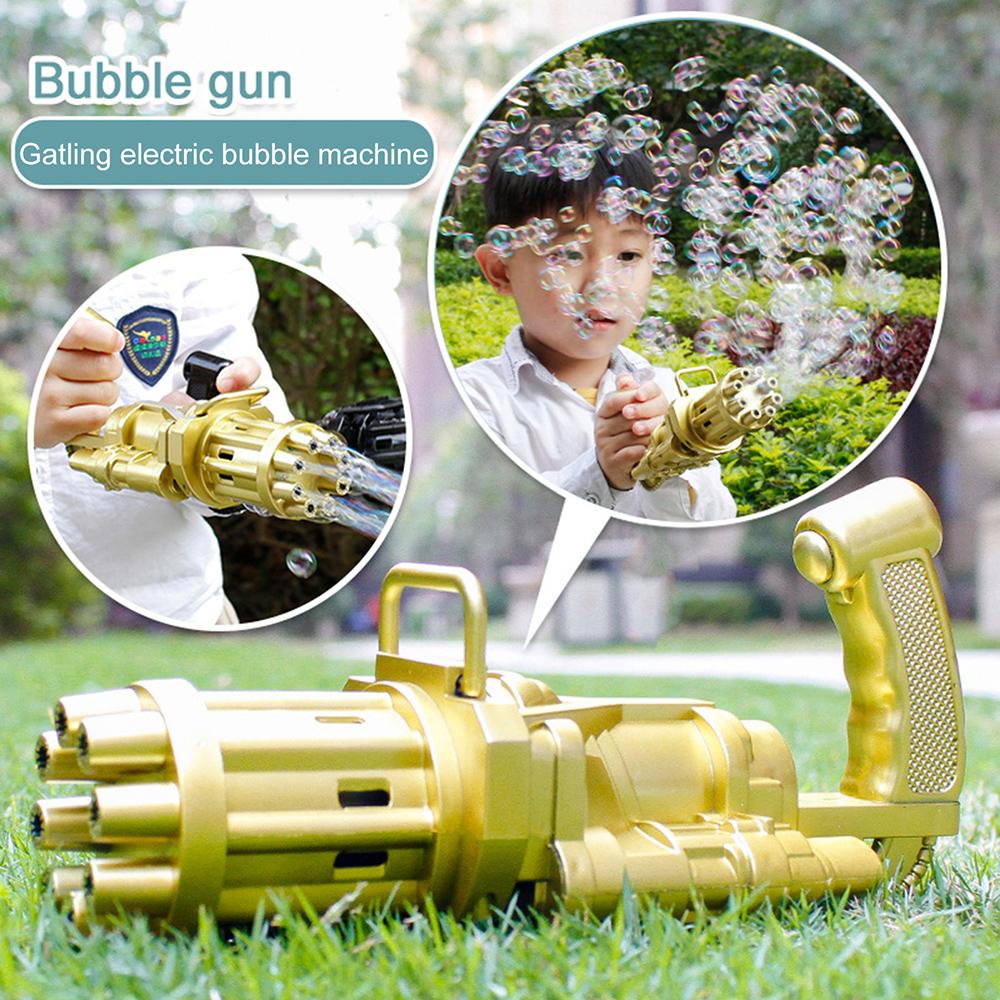 Kids Automatic Bubble Gun Toys Summer Outdoor Toy Soap Water Plastic Electric Bubble Machine
