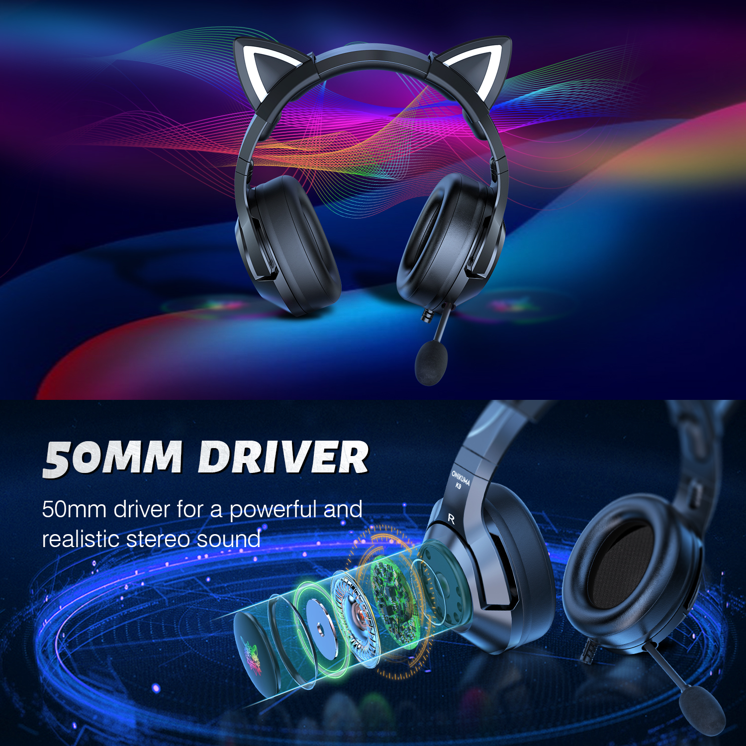 ONIKUMAStereo Dynamic Drivers 3.5MM RGB Luminous Cat Ear Adjustable Gaming Headphones Noise Reduction Wired Headset