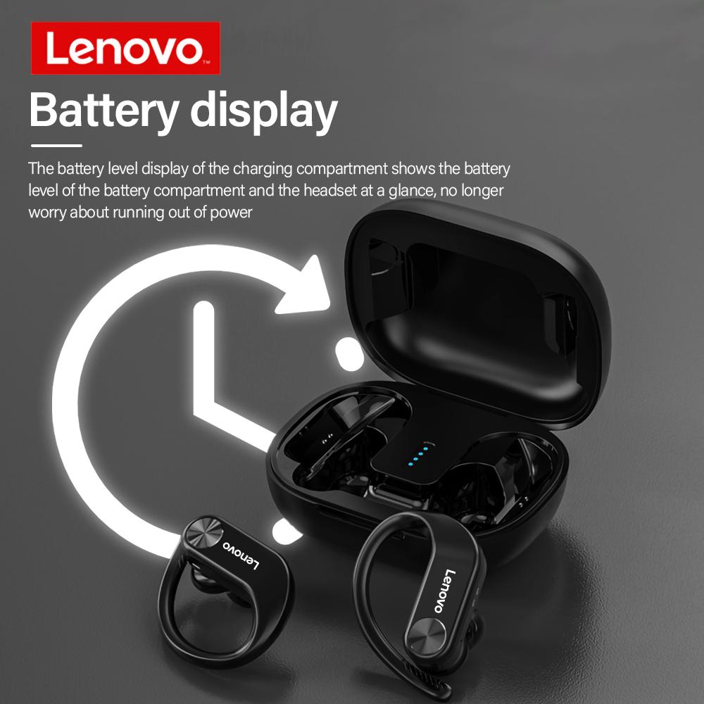 Lenovo LP7 14mm Drivers IPX5 Waterproof HIFI Stereo Bass Noise Reduction Low Latency Earhook Wireless Bluetooth 5.0 Earphones with Mic