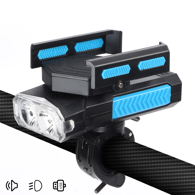 5 in 1 Horn Phone Holder Cycling Flashlight MTB Bike Accessories Power Bank 4000mAh Bicycle Light