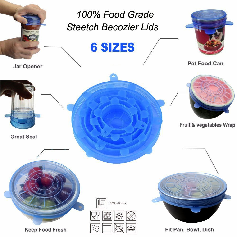 Geeklifetime™ 6PCS Reusable Universal Stretch Food Silicone Cover Cap Silicone Lids for Cookware