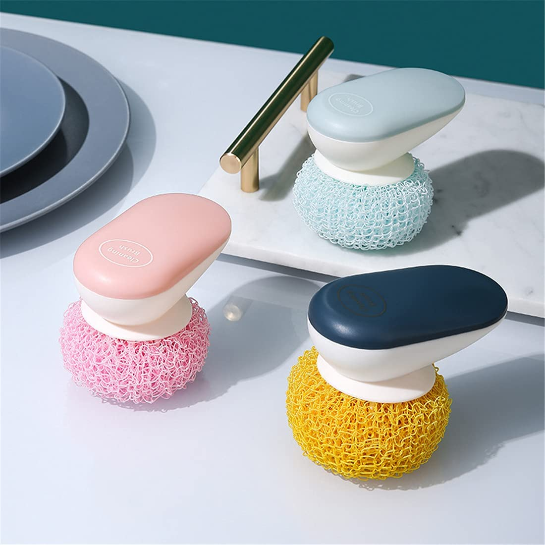 Removable Replaceable Nano Fiber Cleaning Ball Kitchen Dish Pot Washing Tool Cleaning Ball Brush