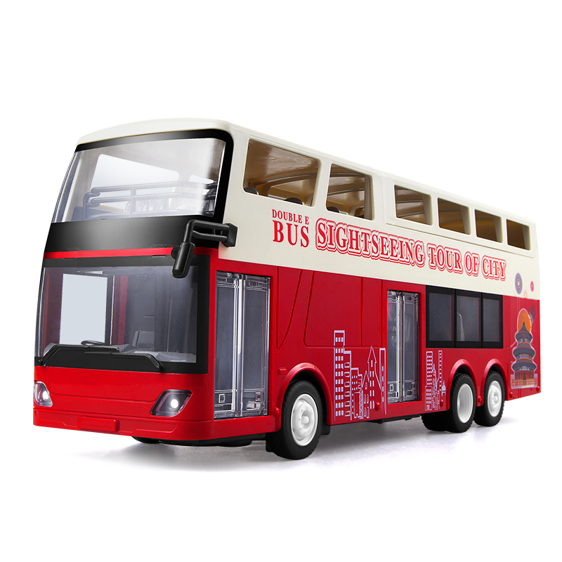E640 1:18 Simulation Remote Control Double Layer Bus Realistic Sound and Light RC City Sightseeing Bus Car Toys