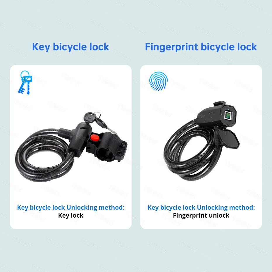 Fingerprint Bike Lock Cable Keyless Bike Lock Chain Heavy Duty Anti