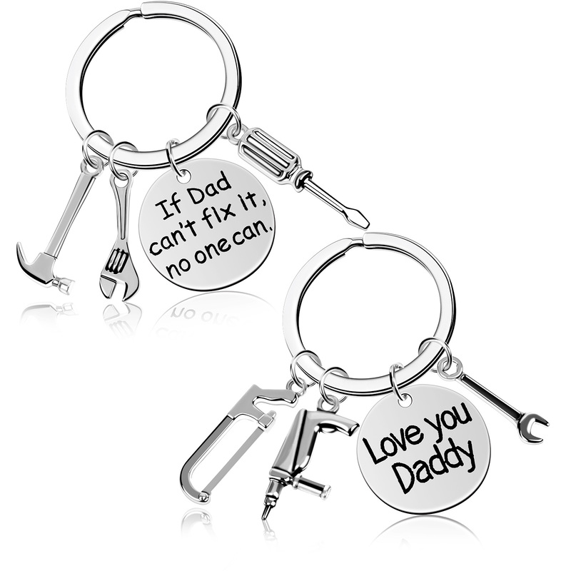 Engraved Stainless Steel Father Daddy Keyring Family Gifts Keychain Father's Day Present