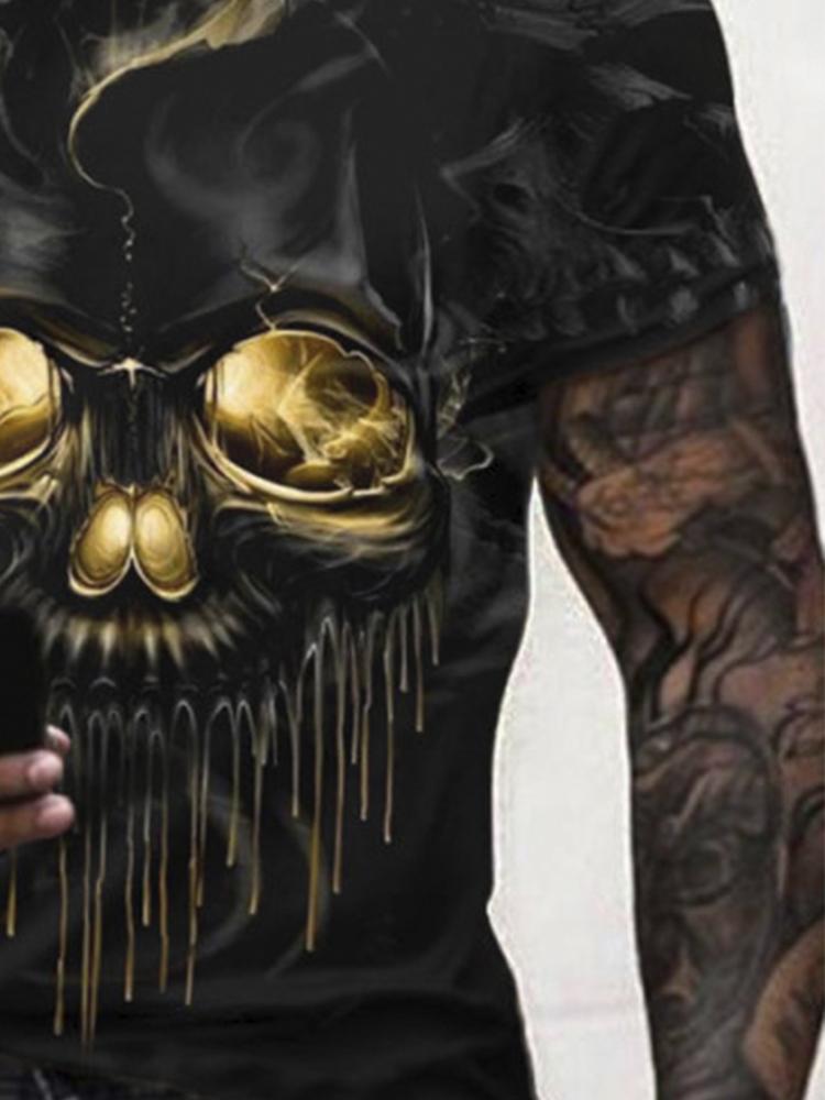 Fashion casual skull print T-shirt