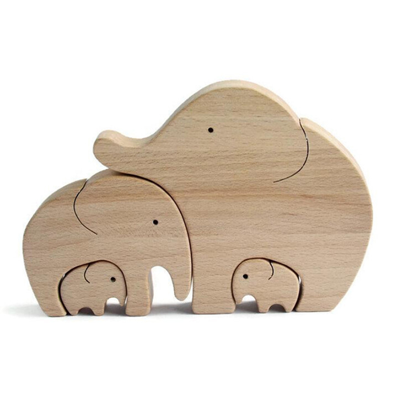 Elephant Wooden Ornament Desktop Decor Home Decoration Accessories Mother's Day Gift