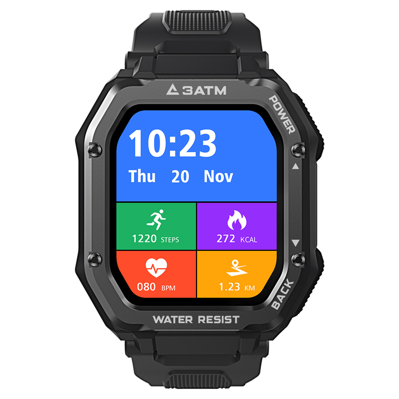 Kospet Rock 1.69 inch Large Screen Heart Rate Blood Pressure SPO2 Monitoring Bluetooth 5.0 Three-Proof Outdoor Smartwatch