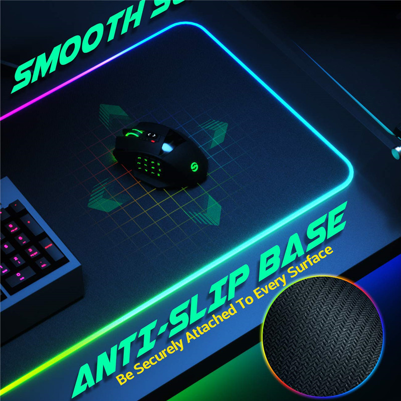 Large Extended Soft LED RGB Gaming Mouse Pad with 14 Lighting Modes 2 Brightness Levels