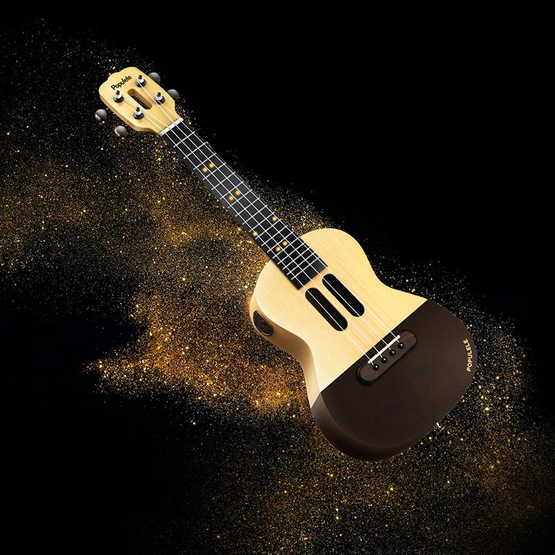 Populele U1 23 Inches 4 Strings Smart Ukulele with Free APP Controlled LEDs Bluetooth Connect Mini Guitar