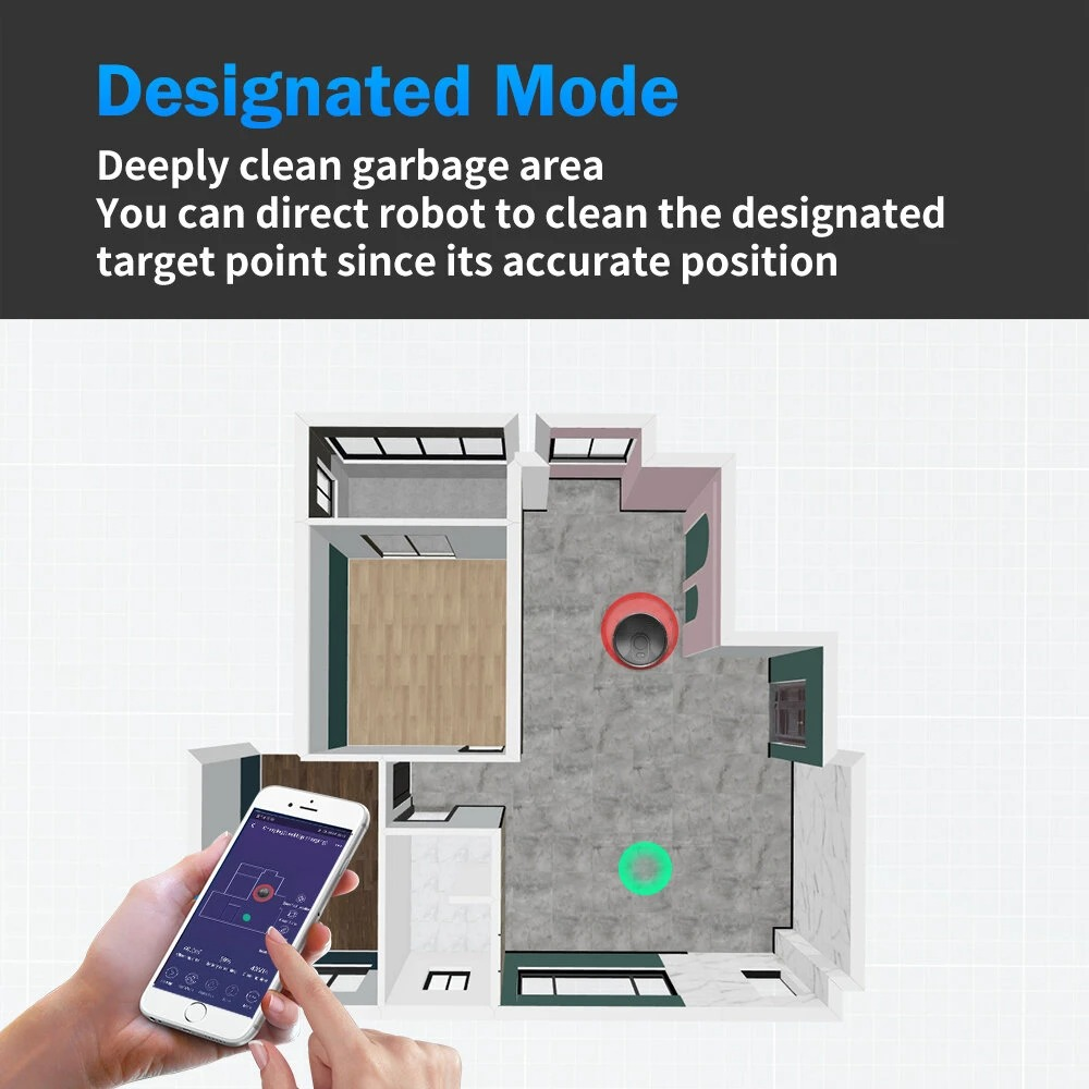 ABIR X6 Wet and Dry Cleaning 2700Pa 3 Gear Suction Vision Navigation System WIFI APP Control 2600mAh Battery Auto Charge Robot Vacuum Cleaner Ship from EU Warehouse
