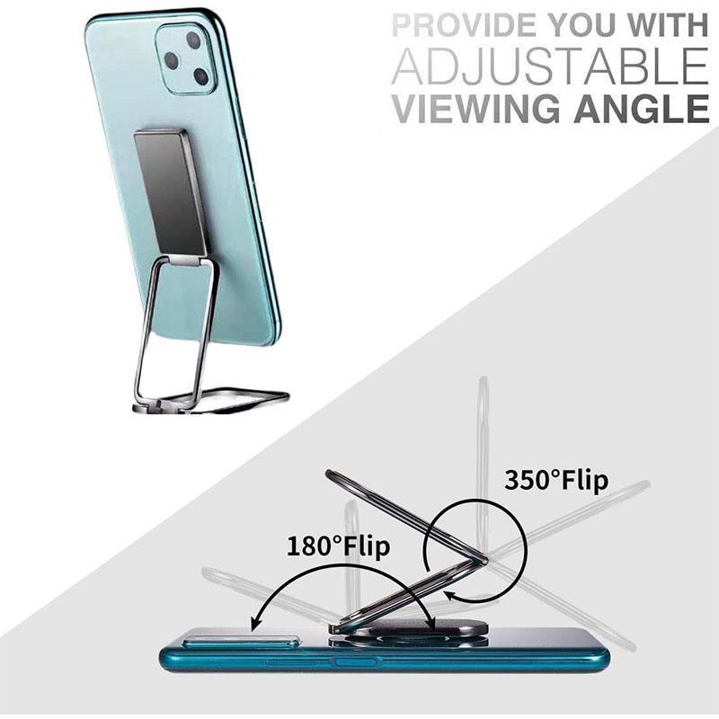 Portable Metal Mobile Phone Holder 360 Degrees Square Rotation Self Stick Device Mount