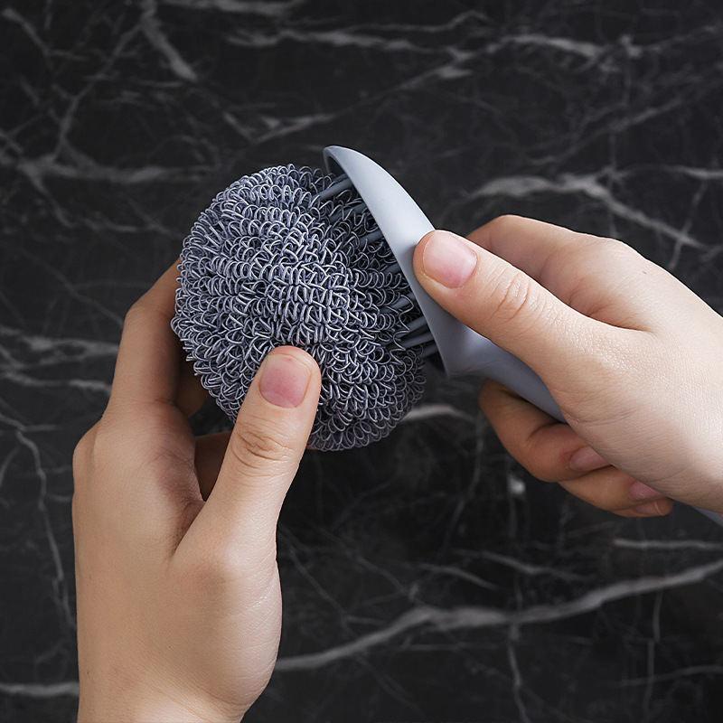 Cleaning Ball Wash Pot Brush Kitchen Dishwashing Household with Handle Brush Pot Artifact Descaling Steel Ball Brush