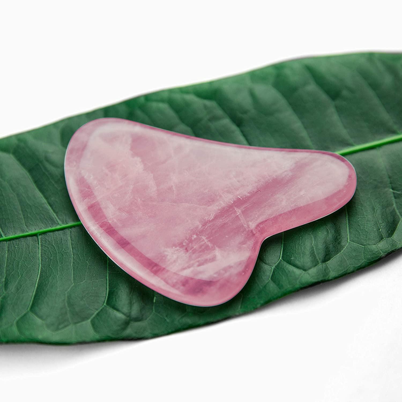 Rose Quartz Stone Acupressure Scrapper Gua Sha Massage Facial Tools