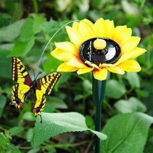 Creative Simulation Butterflies Solar Powered Vibration Outdoor Garden Decor Road Lighting