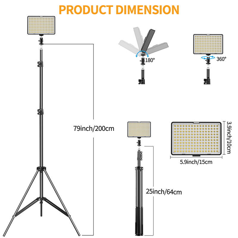 SAMTIAN TL-160 LED Video Light Kit with 79 Inches Adjustable Light Stand 2-Pack Dimmable Photography Lighting Ship from US