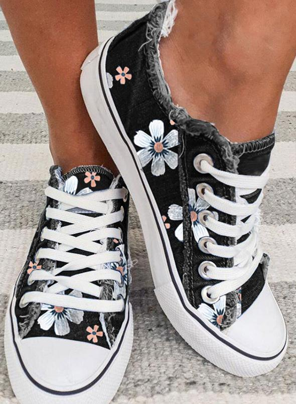 Women Sneakers Floral Lace Up Canvas Sneakers