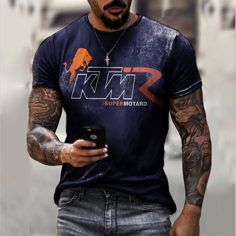Fashion leisure motorcycle print T-shirt