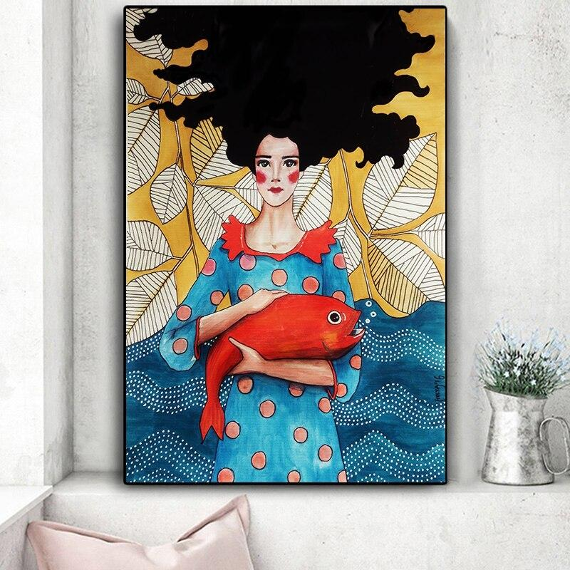 Vintage Abstract Girl Hair Flower Women Wall Art Canvas Painting Fashi Msehouse
