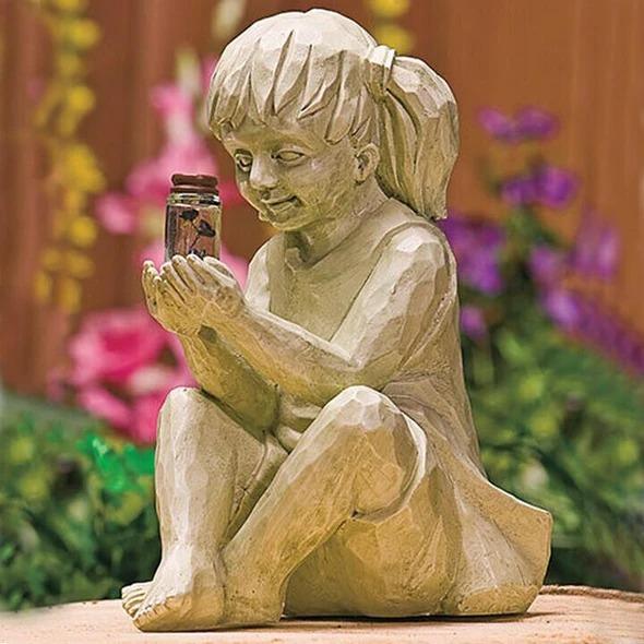 Boy and Girl Solar Garden Statues