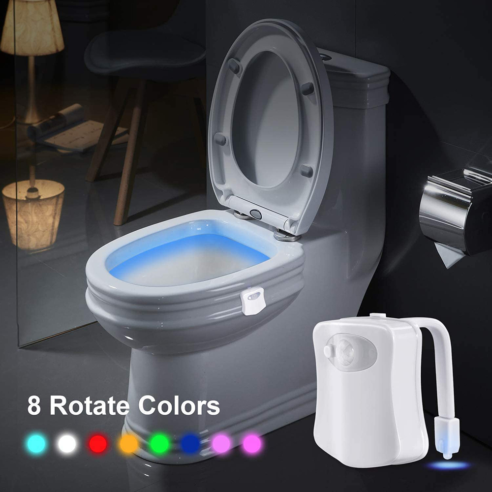 Motion Sensor LED Toilet Night Lights,Two Modes with 8 Colors Changing Toilet Bowl Night Light Smart Waterproof Motion-Activated Sensor Light