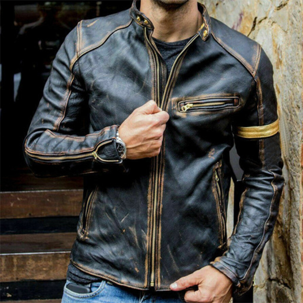 Men's stand-up collar punk motorcycle retro leather jacket