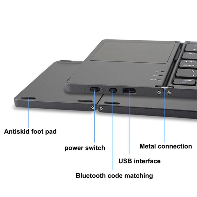 Ultra Thin Mini Portable Wireless Bluetooth Foldable Keyboard