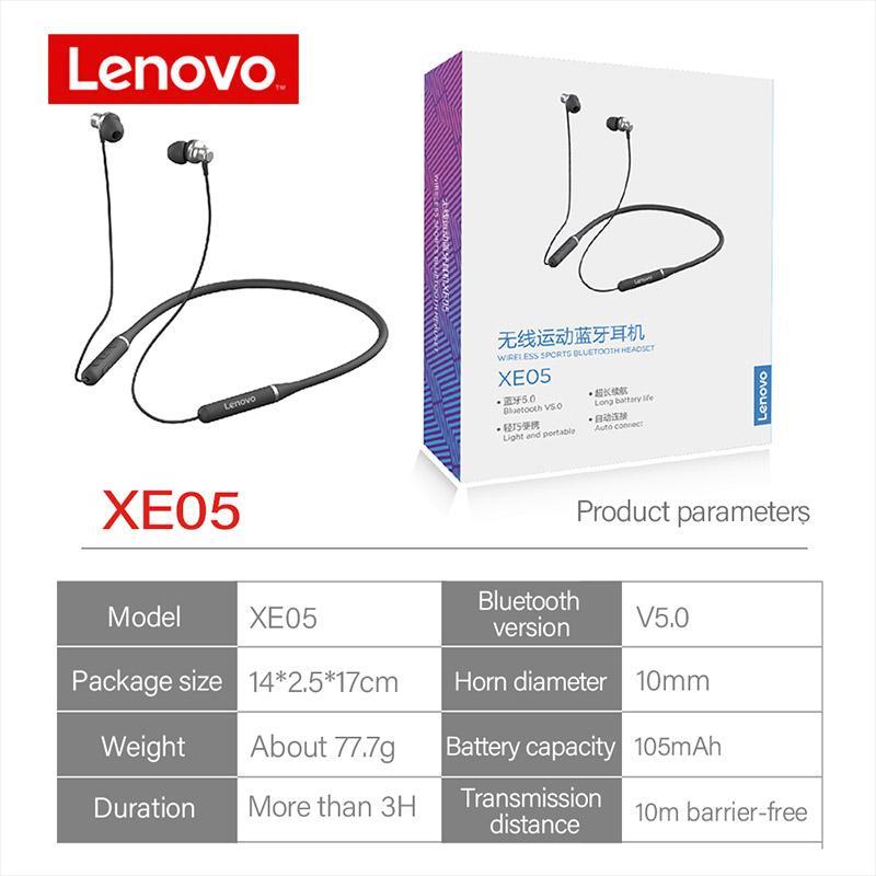 Lenovo XE05/XE05 Pro Bluetooth IPX5 Waterproof Magnetic Neckband Earphones Headphones with Mic