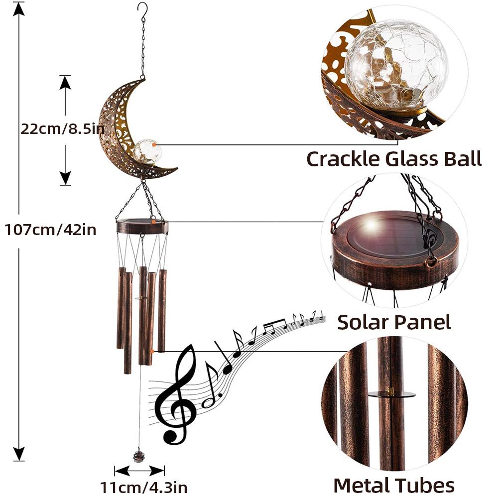 Moon Shape LED Solar Wind Chimes Lights Outdoor Waterproof Hanging Aeolian Bells Solar Lamp