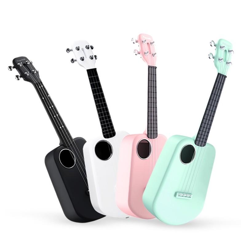 Populele 2 23 Inches 4 Strings LEDs Carbon Fiber Smart Ukulele with Free App Control Acoustic Bluetooth Mini Guitar