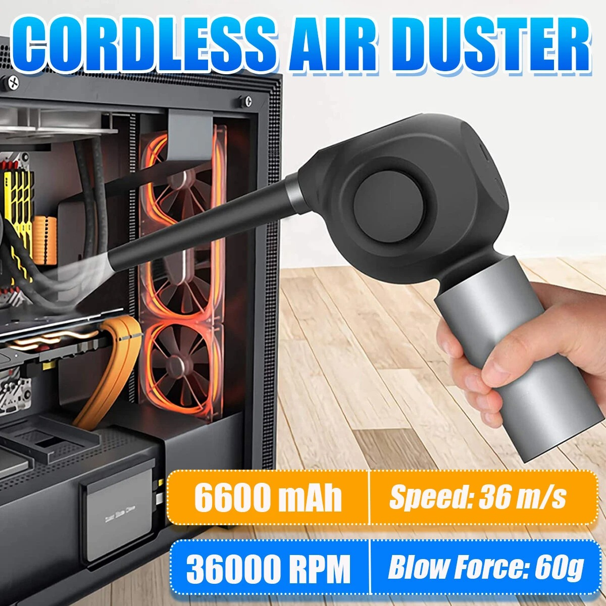 Multifunctional Cordless Air Duster Replaces Compressed Spray Gas Cans Rechargeable Cleaner Blower for Pet Car Laptop Keyboard Camera Phone