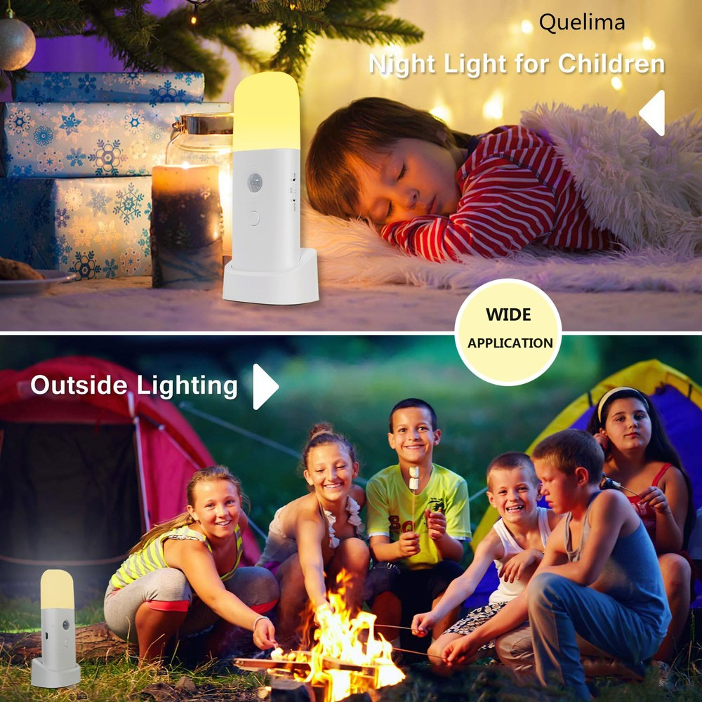 Quelima USB Rechargeable Indoor Motion Sensor Night Light with Adjustable Brightness and SOS