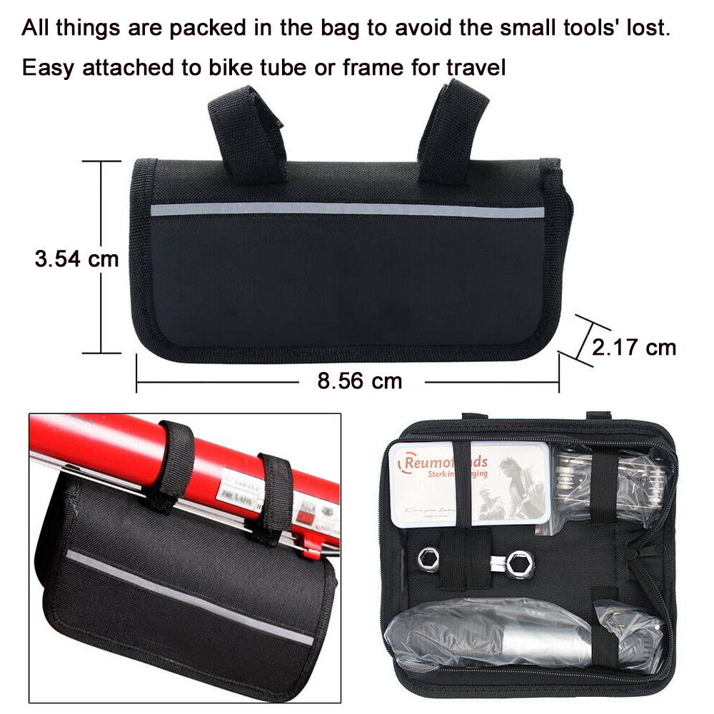 Multifunctional Folding Tire Repair Kits Bicycle Tool Bag with Pouch Pump